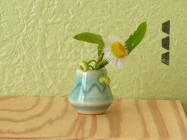 ミニチュア陶器☆青ガラス花入 山嶺