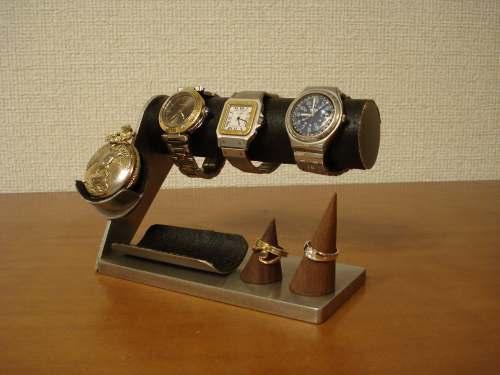 3本掛け腕時計スタンド&懐中時計、ダブルリングスタンド