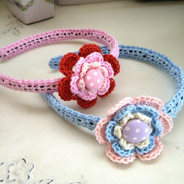 【受注製作】手編みお花のカチューシャ【送料込】