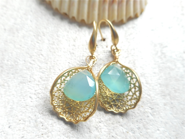 Sea fan with Aqua Chalcedony