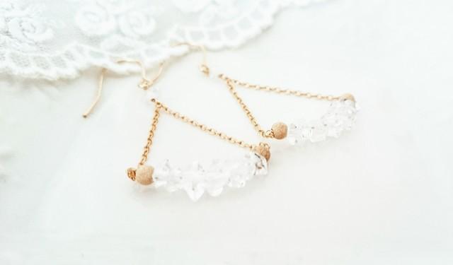 ハーキマーダイヤモンドのピアス☆14kgf
