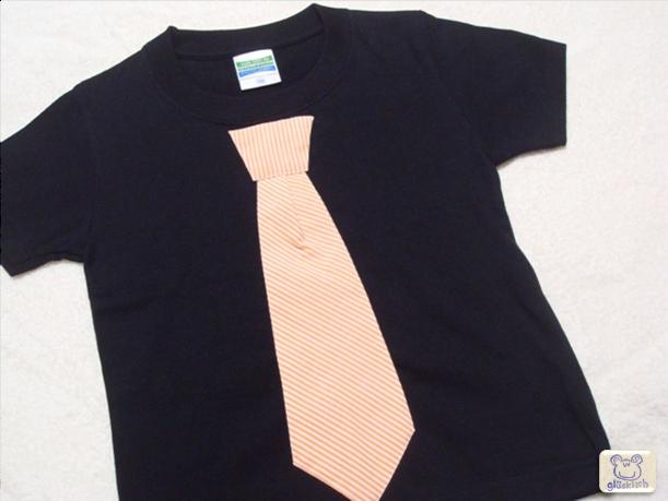 【今だけ送料無料】ネクタイTシャツ/100/黒×オレンジ