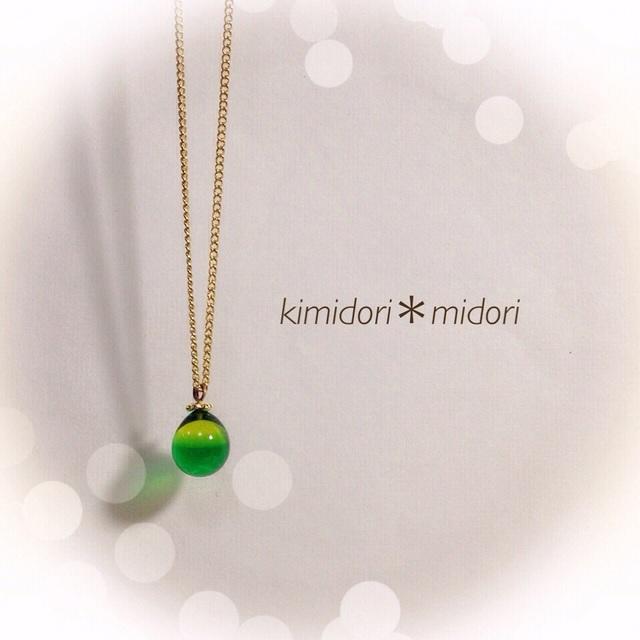 【再販】R-18 一粒のしずく☆ガラス玉のネックレス グリーン