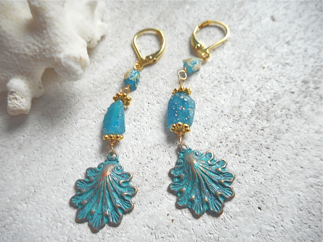 Seashell mermaid drop earrings ローマングラス