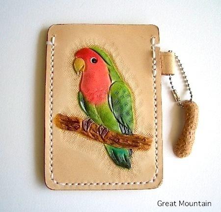 コザクラインコ コザクラ 小桜 インコ パスケース インコ 革 レザー カードケース 鳥