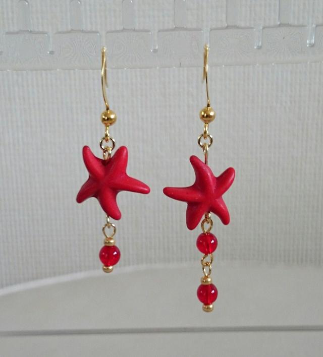 starfish ピアス red