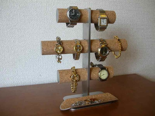 8本掛け腕時計スタンドロングハーフパイプトレイバージョン