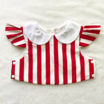 stripe×white  collar bib(red)