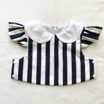 stripe×white collar bib(navy)