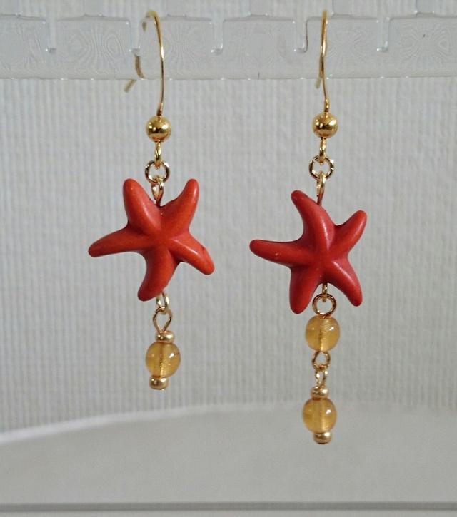 starfish ピアス orange