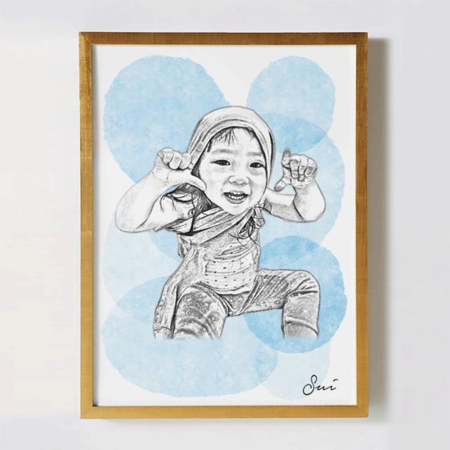 28c02e6cbcea2 子供の似顔絵オリジナルポスター ~SKETCH ウォーターパレット~  名入れ無料・記念やギフトに