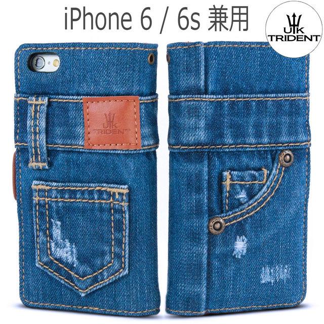 5992714060 手作り本格デニム iPhone 6 / iPhone 6s 兼用 手帳型 デニム アイフォン ケース