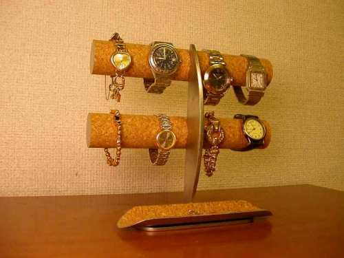 ギフトに♪ロングハーフパイプトレイ三日月支柱8本掛け腕時計収納スタンド