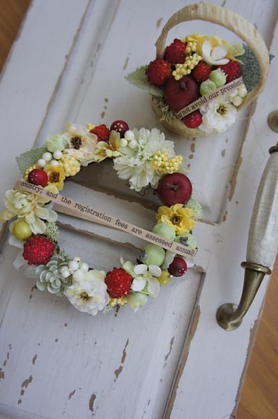 ベリーと小花のミニリースセット