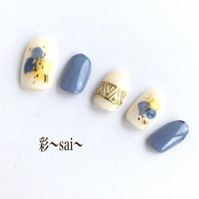 青/塗りかけネイル/くすみブルー/ニュアンスネイル/秋ネイル/ネイルチップ
