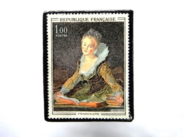 フランス1972年美術切手ブローチ 852