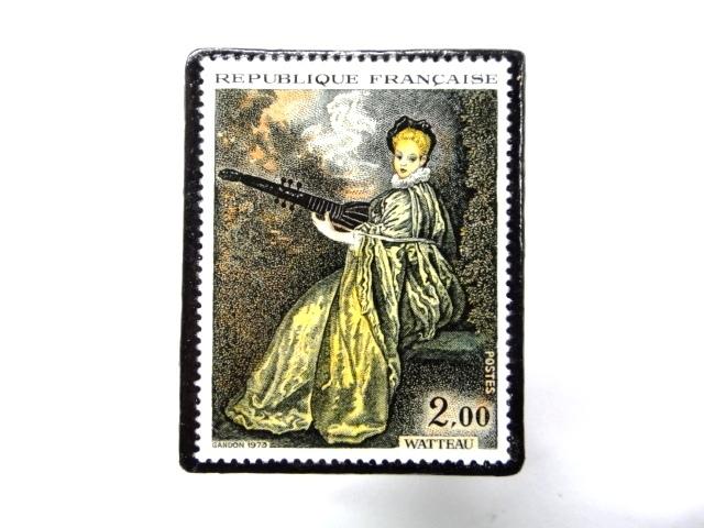 フランス1973年 美術切手ブローチ 854