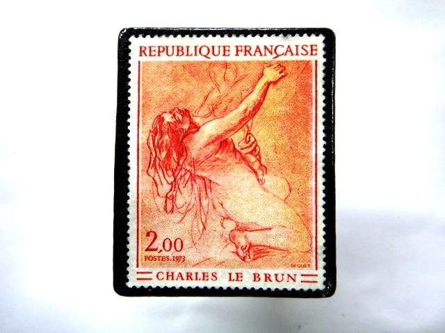フランス1973年 美術切手ブローチ 855