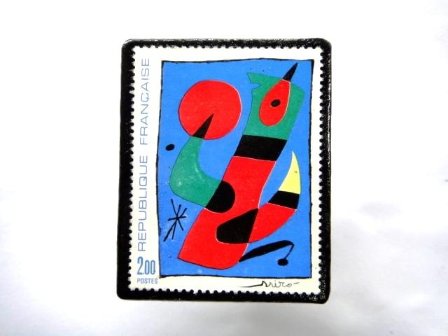 フランス1974年 美術切手ブローチ 858
