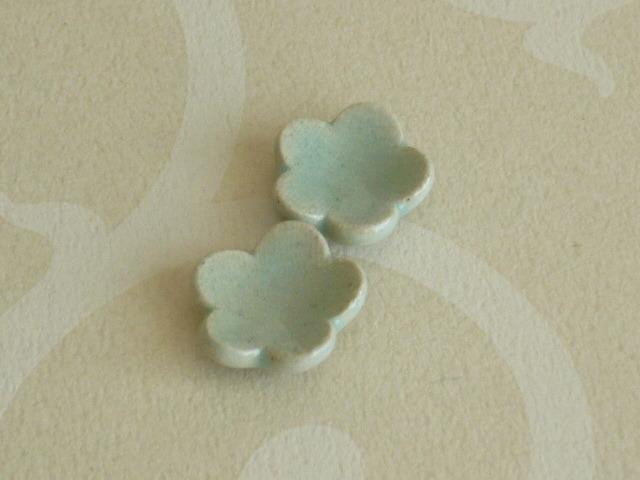 ミニチュア陶器☆ お花の小皿 青白 2枚組