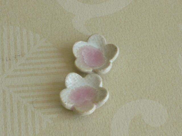 ミニチュア陶器☆ お花の小皿 桃 2枚組