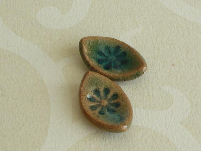 ミニチュア陶器☆ 豆葉皿 緑 二枚組