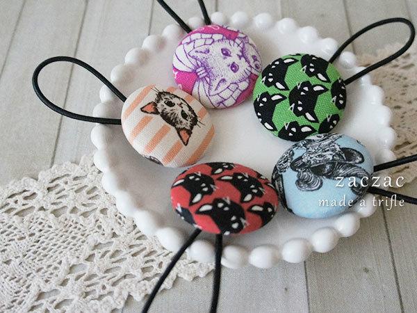 【販売終了】くるみボタンのヘアゴム5個*ネコ