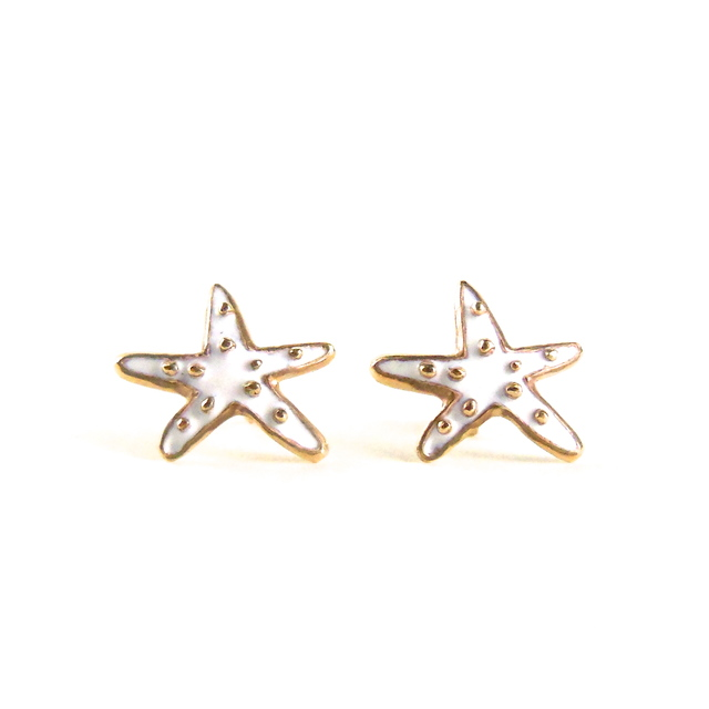 Starfish Pierced Earrings/White**Win...