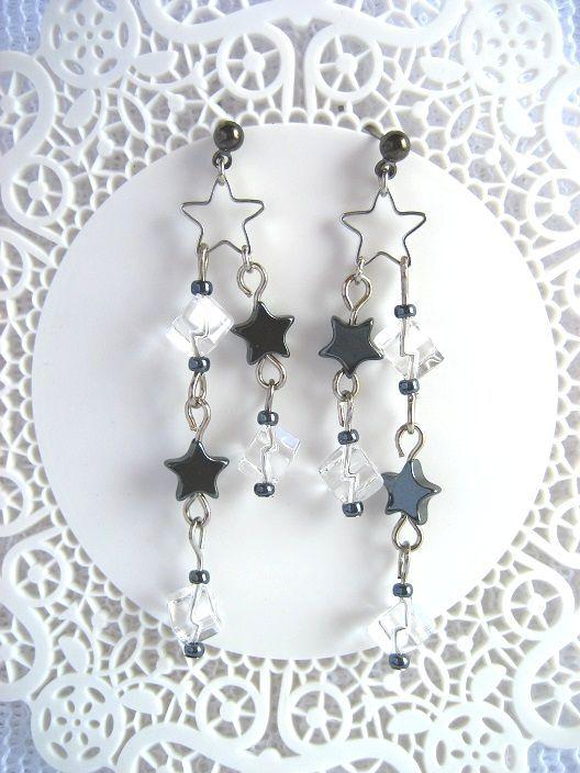 ヘマタイトと水晶の Star dust ピアス