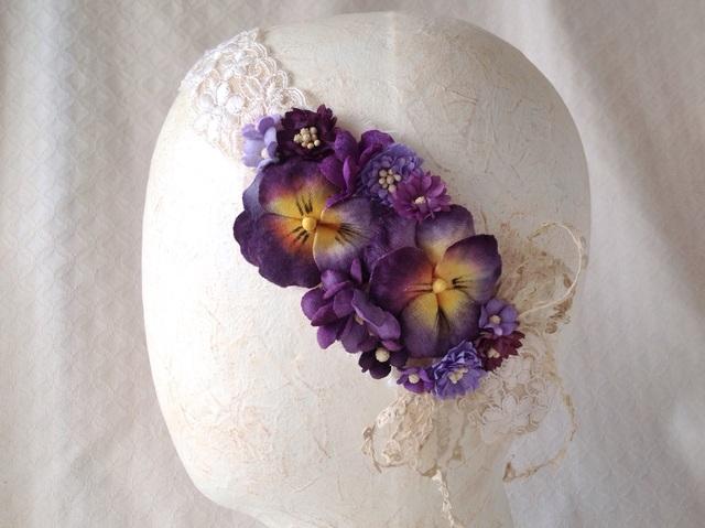 レースと染め花のカチューム(パンジー・赤系紫)