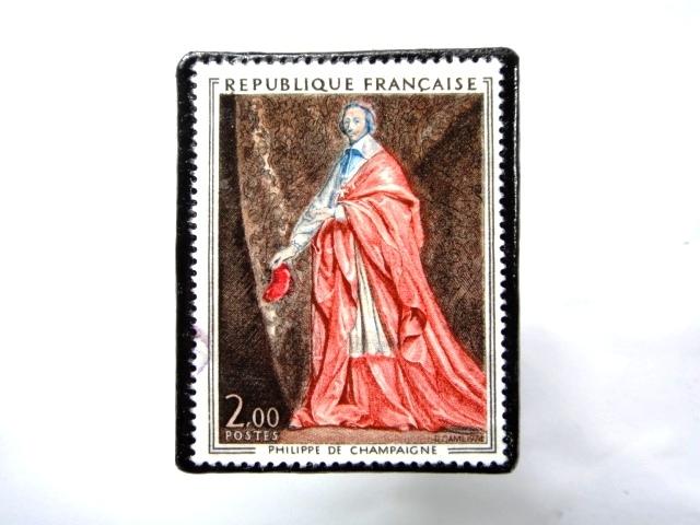 フランス1974年 美術切手ブローチ 859
