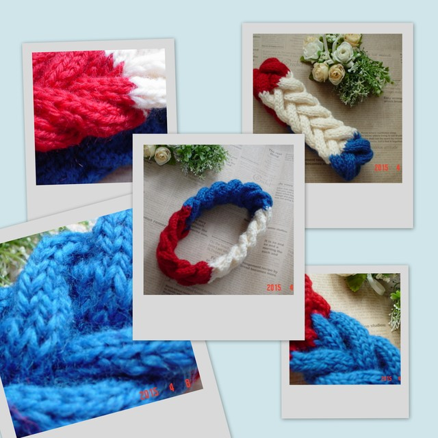 "Tricolor色の""Braided Headband""(fishbonetype)"