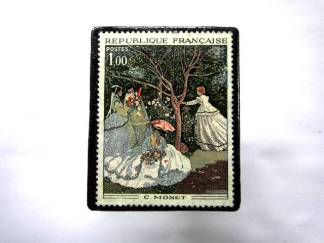 フランス1972年 美術切手ブローチ 860
