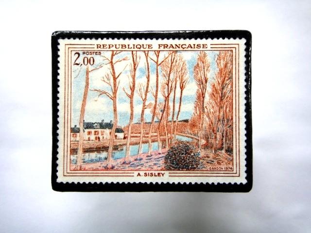 フランス1974年 美術切手ブローチ 861