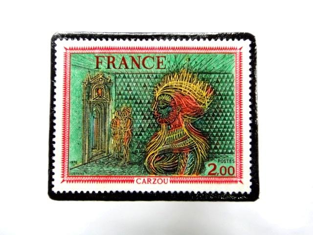 フランス1976年 美術切手ブローチ 862