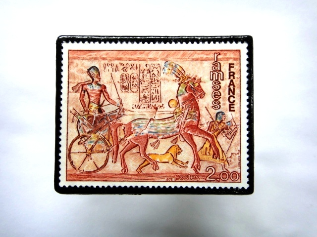 フランス1976年 美術切手ブローチ 863