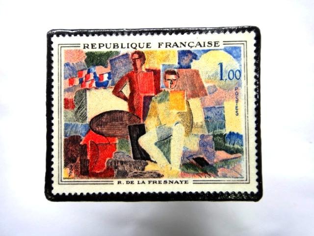 フランス1961年 美術切手ブローチ 864