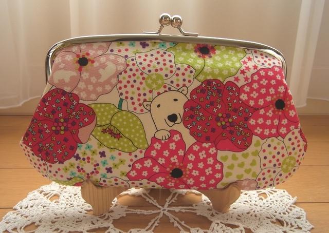 お花畑と白クマさん(赤)*親子がま口長財布
