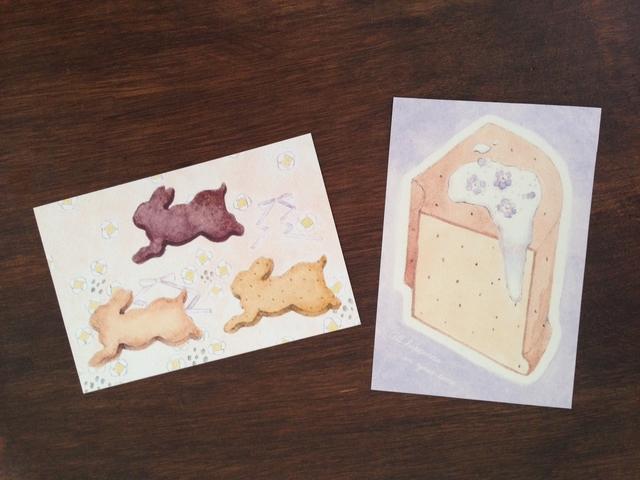 ラビットクッキーとシフォンケーキのポストカード