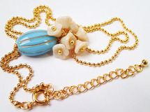 Oval&Flower【turquoise】Necklace