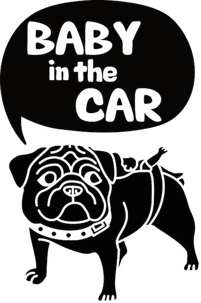 パグ「BABY in the CAR」ステッカー