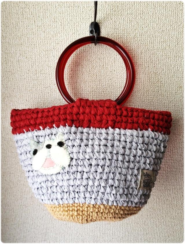 ※chie&pocchi様 お取置き作品です フレンチブルドッグ 裂き編み bag