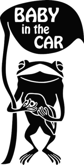 カエル「BABY in the CAR」ステッカー