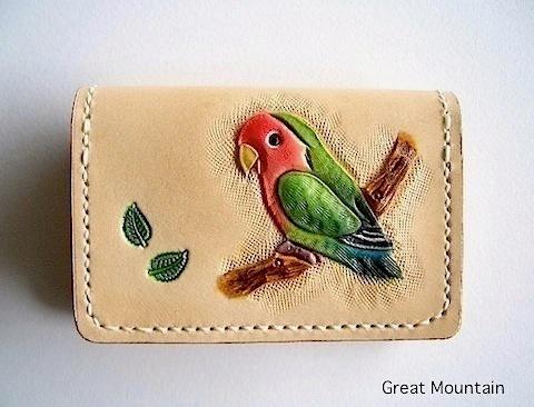 コザクラインコ コザクラ 小桜 インコ 名刺ケース インコ 革 レザー カードケース 鳥