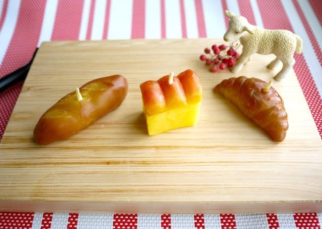 パンのミツロウキャンドル3個セット