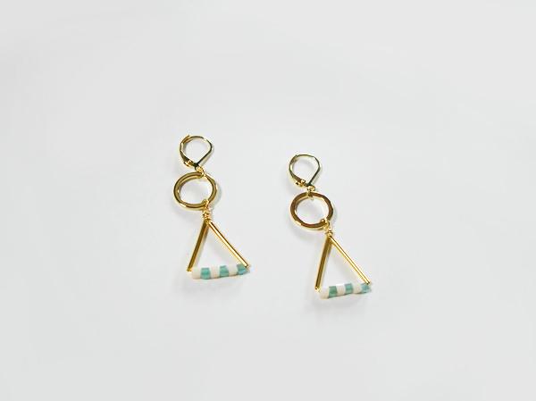 キューブガラスと三角と丸のピアス