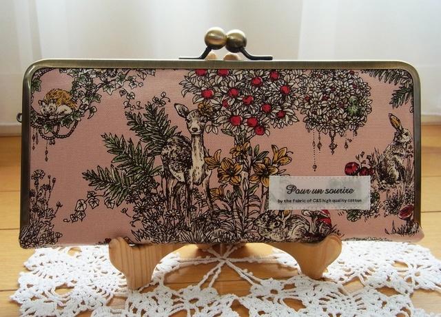 pomu-forest様オーダー品*森のどうぶつたち がま口スリム長財布(ピンク)
