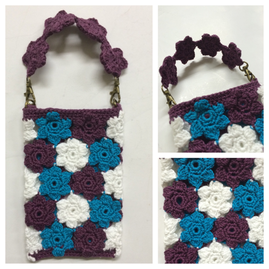 #手編み スマホケース お花モチーフ繋ぎ