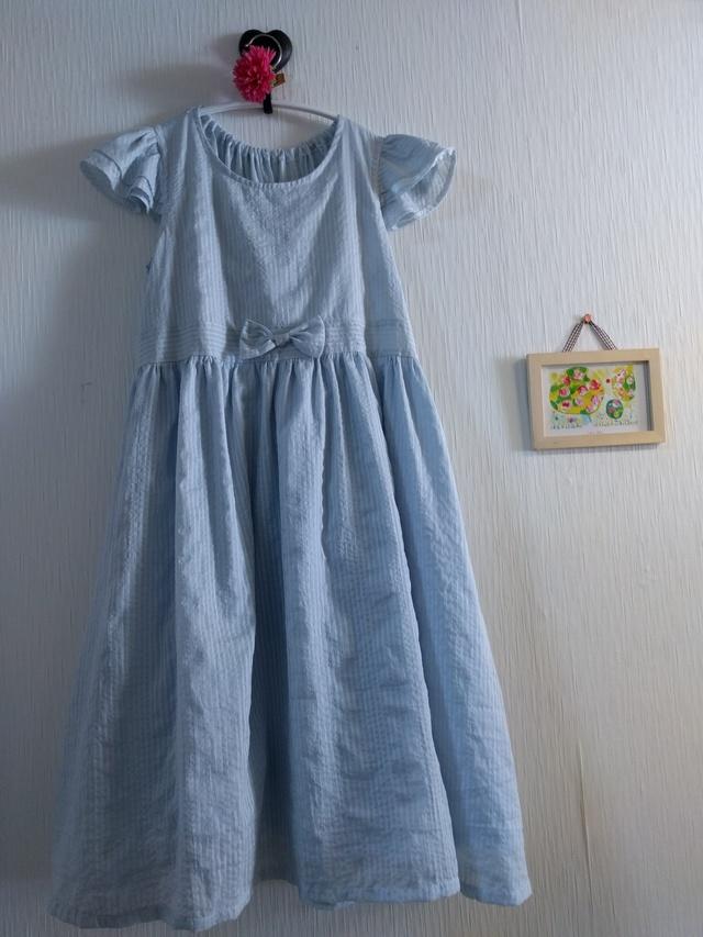 7315948612e8d 150 cm薄ブルーおすまし女の子ワンピース 綿100%