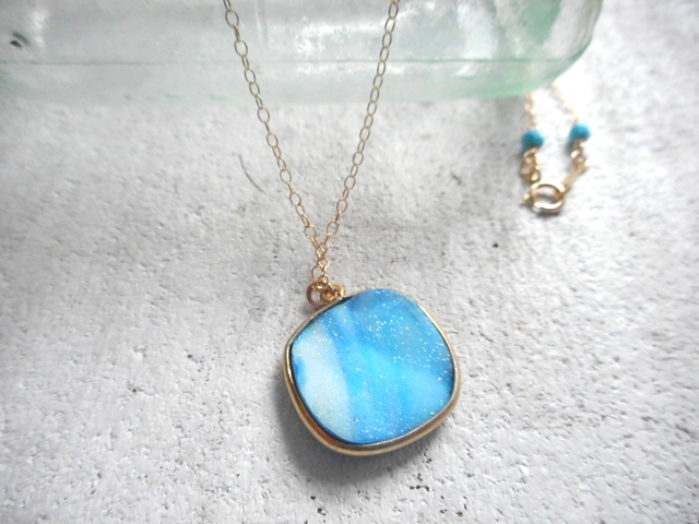 Coastal Druzy Necklace 14kgf  ドゥルージー